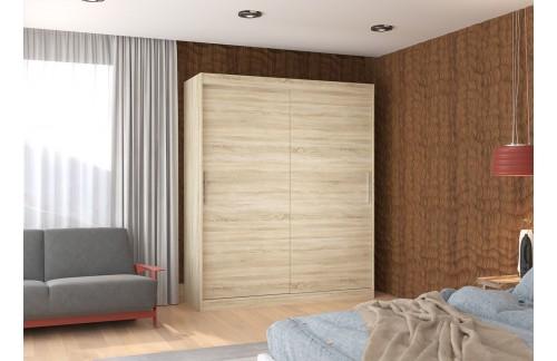 Garderobna omara z drsnimi vrati Lincoln (180 cm)-Sonoma hrast