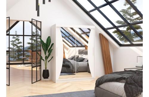 Garderobna omara z drsnimi vrati Max (150 cm)-Bela