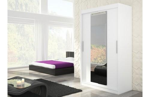 Garderobna omara z drsnimi vrati Iness (150 cm)-Bela