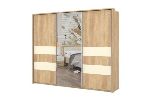 Garderobna omara Kalla Comfort z drsnimi vrati in ogledalom (280 cm)