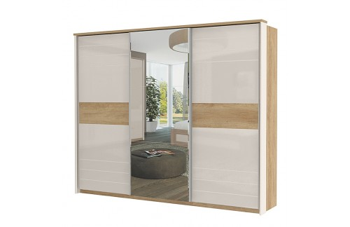 Garderobna omara Kalla Modern z drsnimi vrati in ogledalom (280 cm)