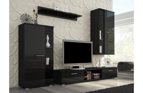 Dnevna soba LEON (črna, visoki sijaj)