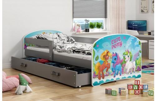 Postelja LUKI s predalom-Grafit-Pony
