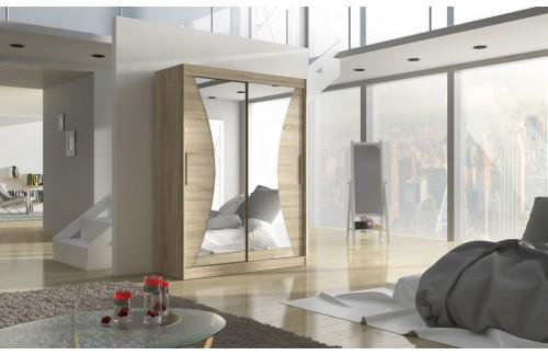 Garderobna omara z drsnimi vrati Max (150 cm)-Sonoma hrast