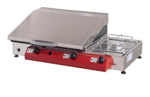 Namizni plinski žar Gorenc, 80 x 40, Fe 5 mm plošča, dva gorilnika, kuhalnik, RF pokrov