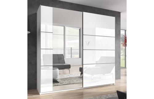 Garderobna omara z drsnimi vrati Beta (bela/bela visok sijaj)