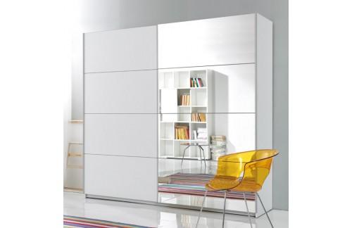 Garderobna omara z drsnimi vrati in ogledalom Beta (bela)