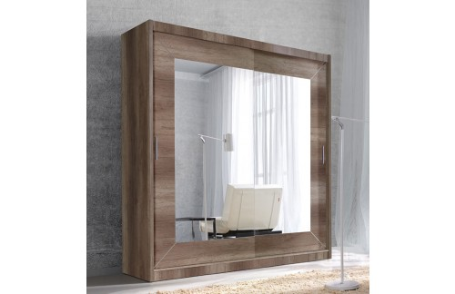 Garderobna omara z drsnimi vrati in ogledalom Alfa (siv hrast)