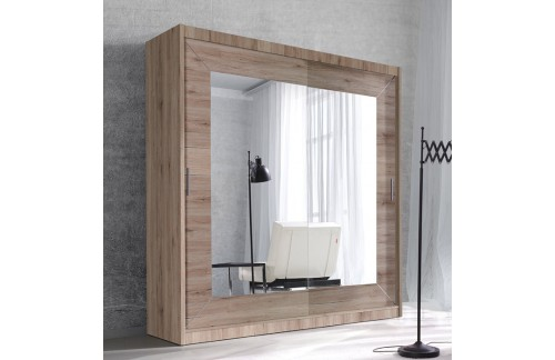 Garderobna omara z drsnimi vrati in ogledalom Alfa (svetla San Remo)
