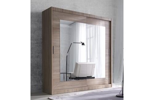 Garderobna omara z drsnimi vrati in ogledalom Alfa (svetla sonoma hrast)