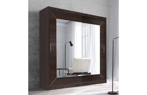 Garderobna omara z drsnimi vrati in ogledalom Alfa (temna sonoma hrast)