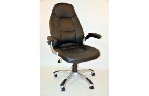 Pisarniški stol K-8332B (črna barva, pravo usnje)