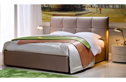 Oblazinjena postelja LORD, 180x200, temno rjava tkanina - EKSPONAT