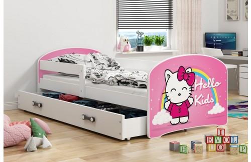 Postelja LUKI s predalom- (Bela-Hello Kids) + GRATIS ležišče