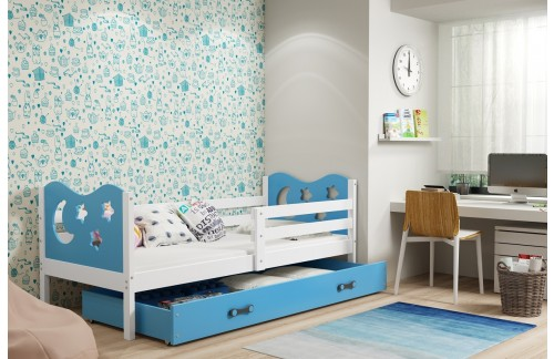 Postelja MIKO s predalom (različne barvne kombinacije)-Bela-Modra