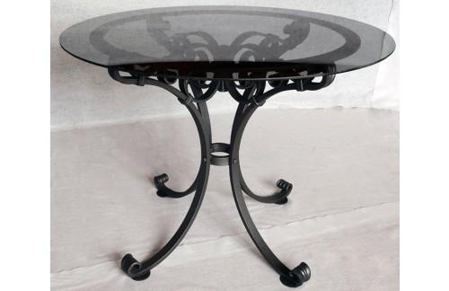 Ročno kovana okrogla miza s steklom ø90cm