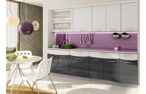 Kuhinja SMILE 2,4 m - belo-črna