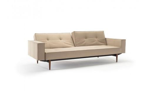 Kavč SPLITBACK SOFA BED z rokonasloni in temno stileto lesenimi nogicami