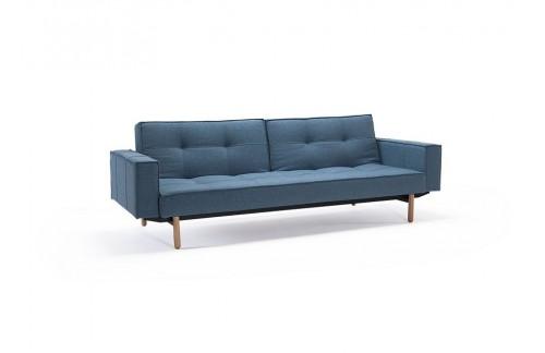 Kavč SPLITBACK SOFA BED z rokonasloni in s svetlo lesenimi nogicami
