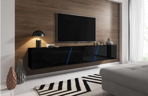 Viseča TV omarica LANT visoki sijaj Črna 240 cm+ LED