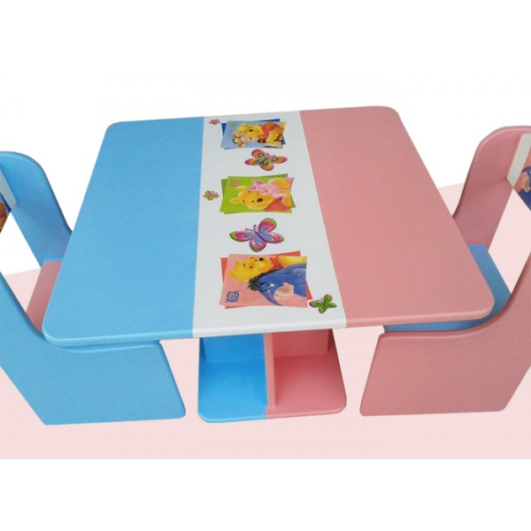 Otroška mizica in stolčka Medvedek Pu (roza-modra)