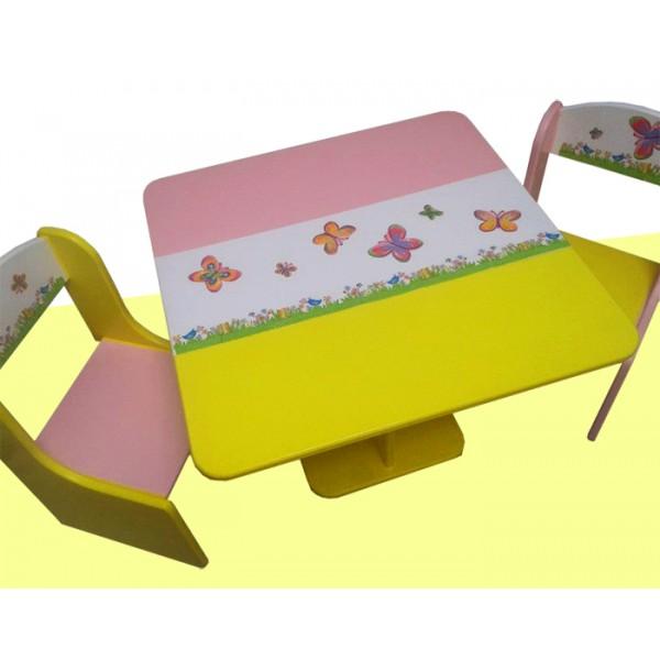 Otroška mizica in stolčka metuljčki (roza-rumena)