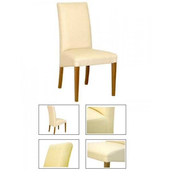 Masivni stol LUNA - bež (EKO usnje)
