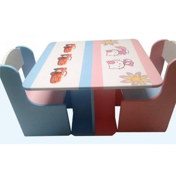 Otroška mizica in stolčka Avtomobili in Hello Kitty (modra-roza)