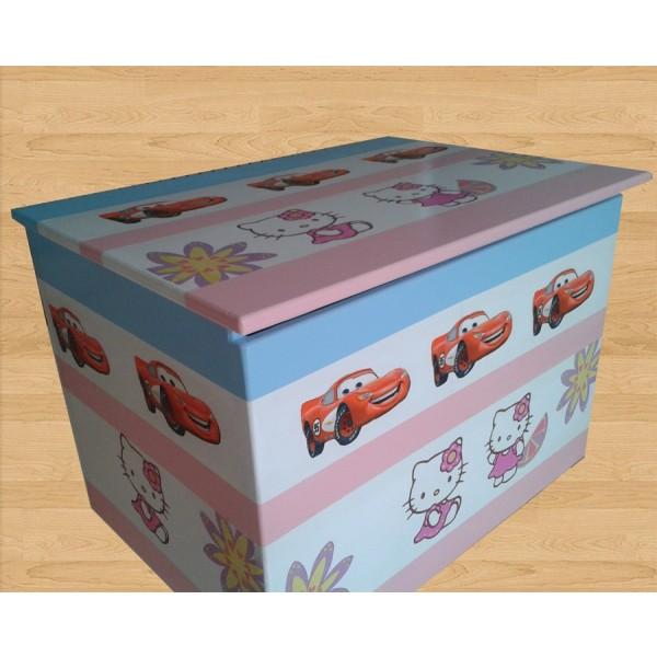Zaboj za igrače Hello Kitty in Avtomobili (roza-modra)