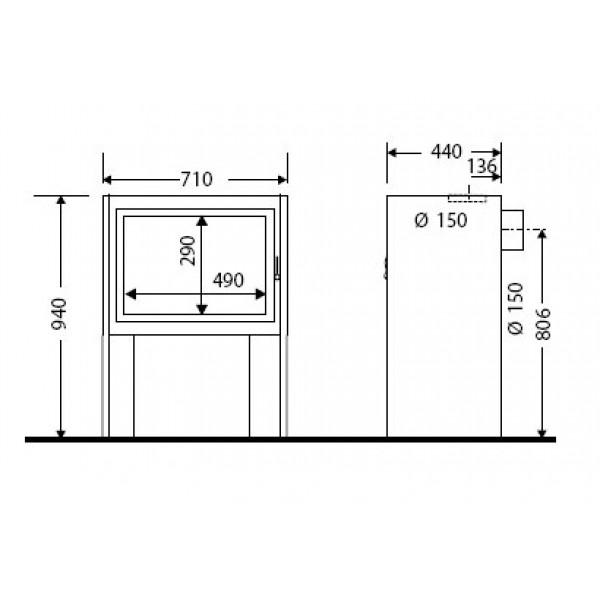 Kamin BOSTON 2 (dimenzije so v milimetrih)