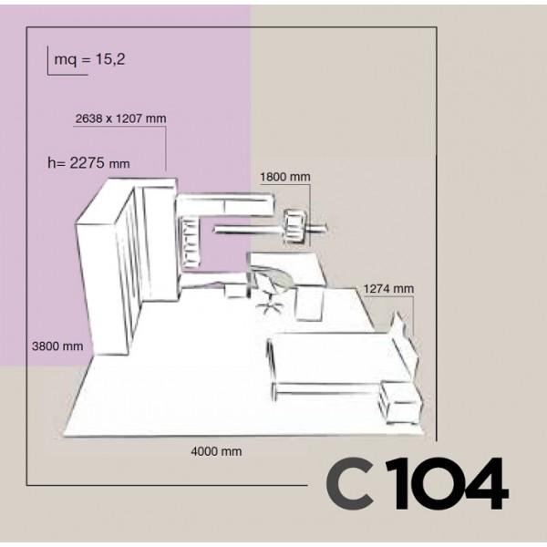 Otroška soba Colombini Volo C104 - skica in dimenzije