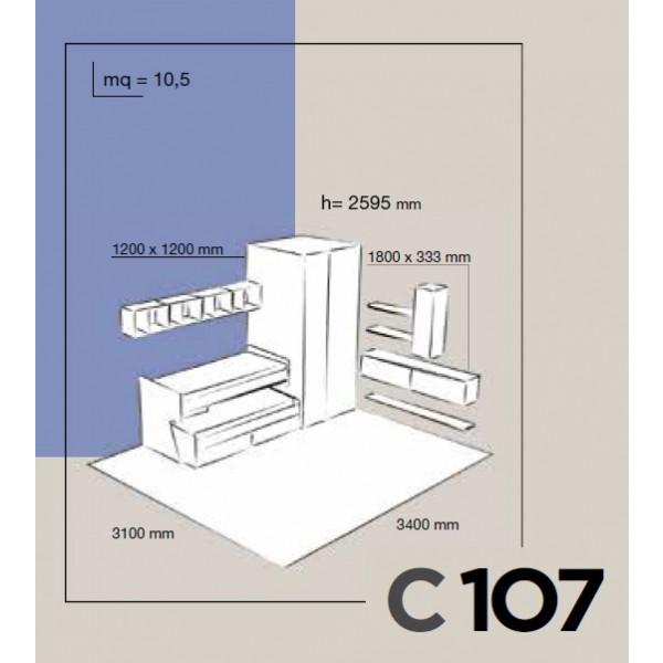 Otroška soba Colombini Volo C107 - skica