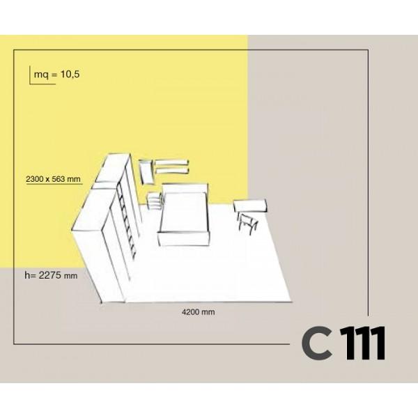 Otroška soba Colombini Volo C111 - skica in dimenzije