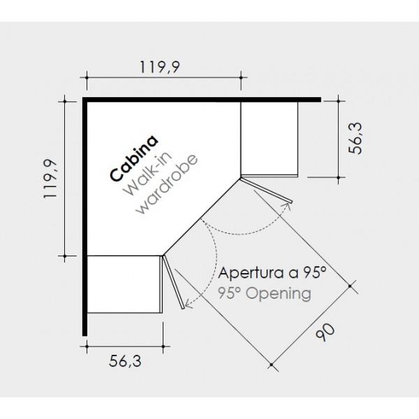 Otroška soba Colombini Volo C114 - skica in dimenzije garderobne omare