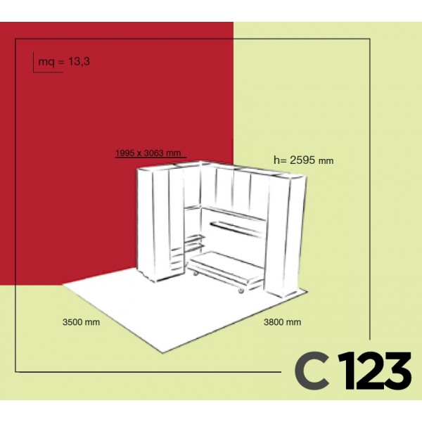 Otroška postelja Colombini Volo C123 - skica