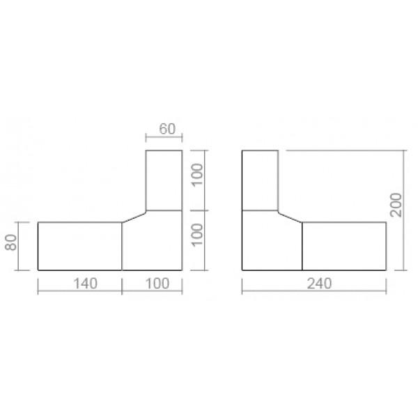 Kotna pisalna miza TK01 240x200 - dimenzije