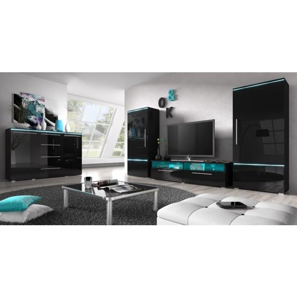 Dnevna soba Amber (črna, visoki sijaj)