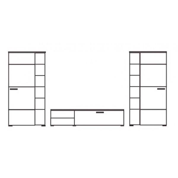 Dnevna soba Anton (črna, visoki sijaj) - skica