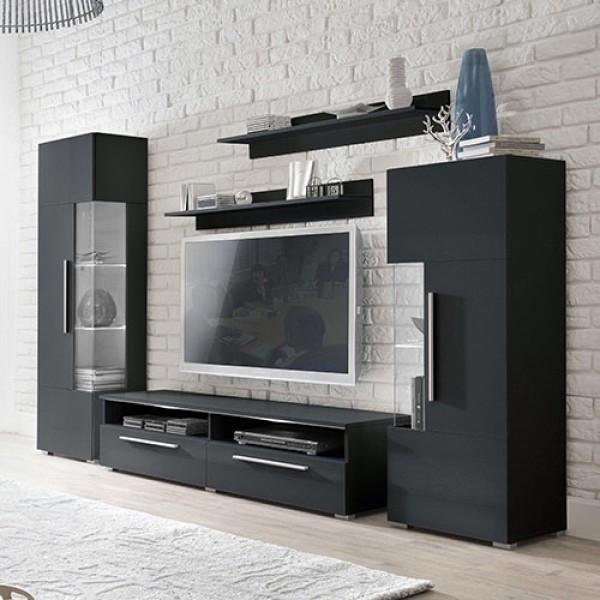 Dnevna soba Coco (črna, črna visoki sijaj)