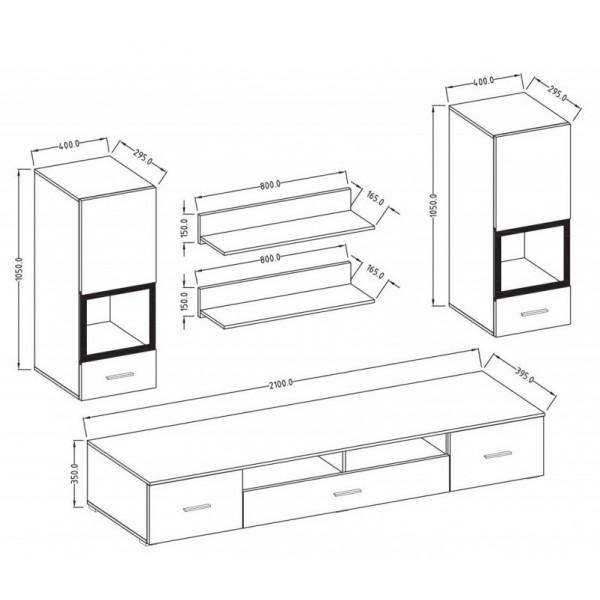 Dnevna soba Sarah (bela) - Mali set: skica in dimenzije