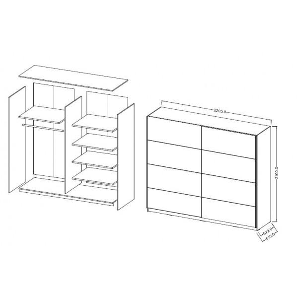Spalnica Beta (hrast, rjava) - garderobna omara: skica