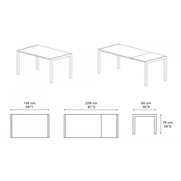 Jedilna miza Caleido: dimenzije