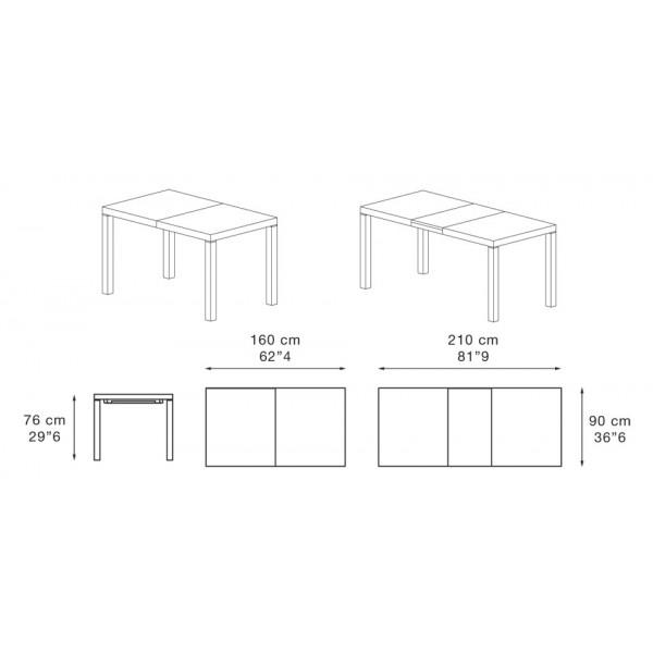 Jedilna miza City 160: dimenzije