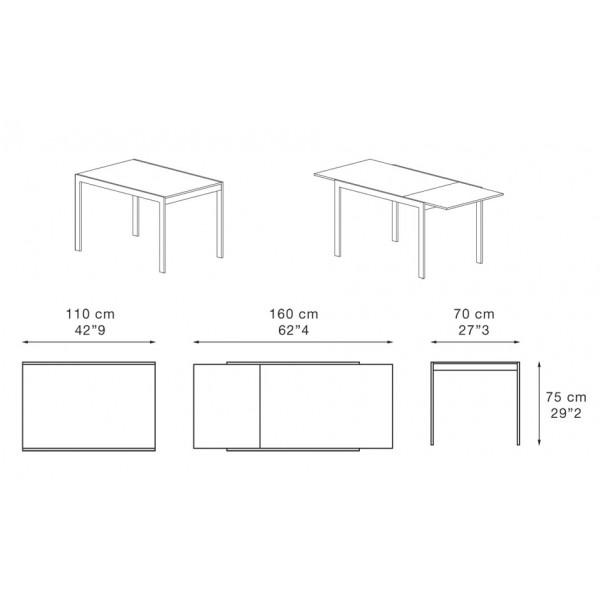 Jedilna miza Dado 110: dimenzije