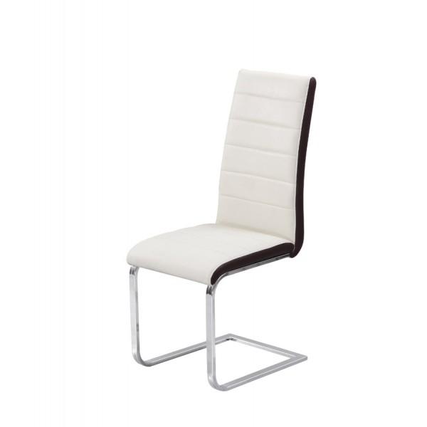 Jedilni stol Triumph: bel sedežni del, rjav rob