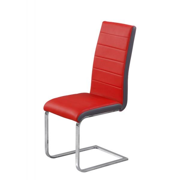 Jedilni stol Triumph: rdeč sedežni del, siv rob