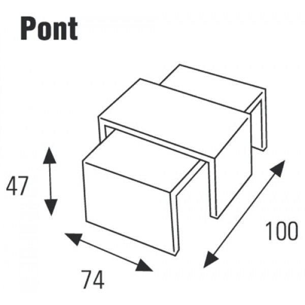 Klubska mizica Pont: Dimenzije