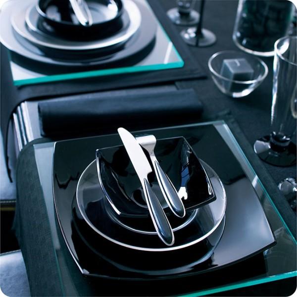 Komplet Quadrato Črna 27 delni(krožniki, sklede, skodelice za kavo)