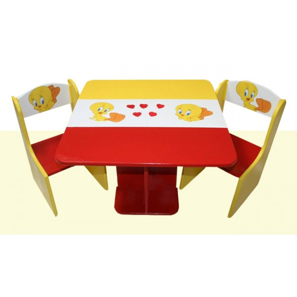 Kvadratna otroška mizica in stolčka Tweety