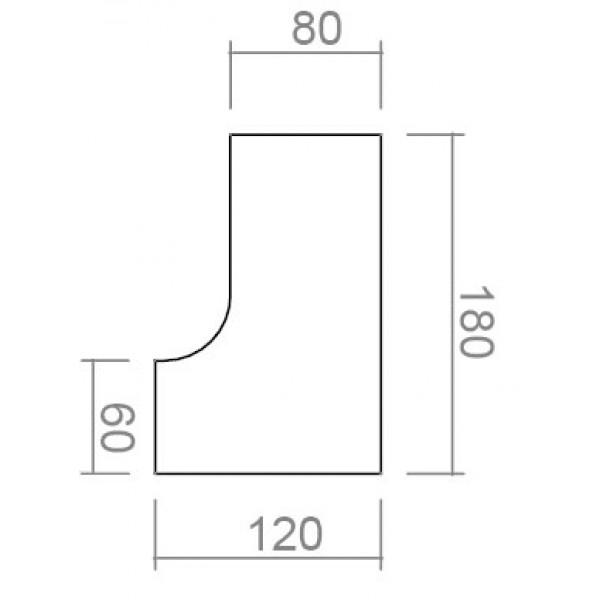 Kotna pisalna miza s predalnikom TK05-dimenzije